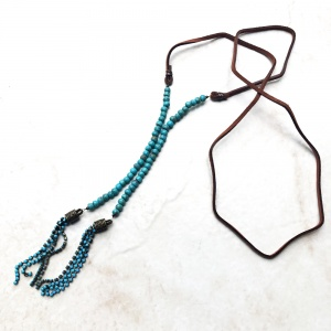 Brown Genuine Suede Lariat Necklace with Long Turquoise Chain Dangle